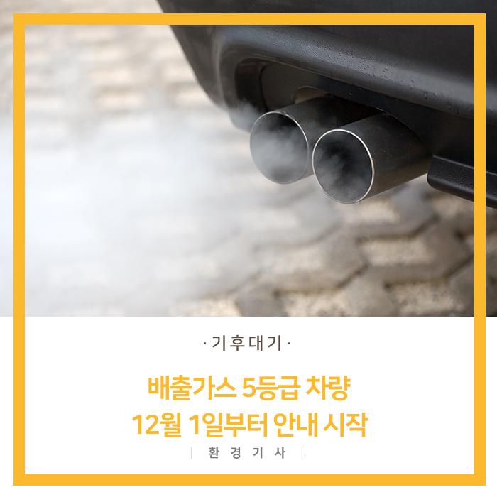 배출가스 5등급 차량 12월 1일부터 안내 시작